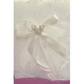esküvői gyűrűpárna - hímzett brokát, pillangó díszítéssel