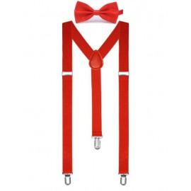 csokornyakkendő és nadrágtartó - fehér, fekete vagy piros színben