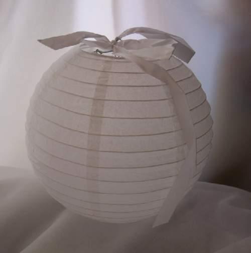 lampion gömb - szalag nélkül, fehér