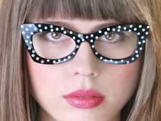 Fesztivál / party szemüveg - pöttyös, fekete-fehér
