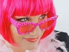 Fesztivál / party szemüveg - pöttyös, rózsaszín