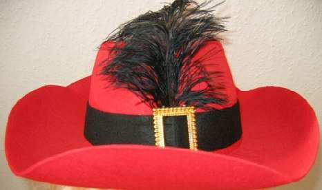 muskétás / testőr piros kalap