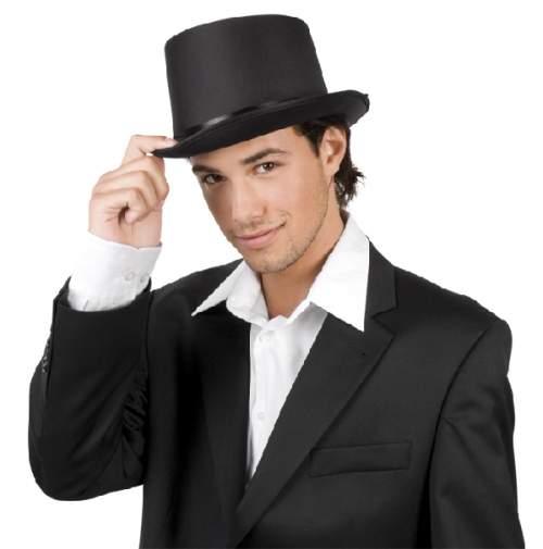 cilinder / vagy Gatsby kalap - fekete, szatén