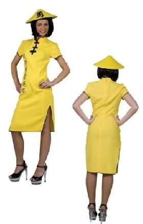Kínai jelmez - női (sárga ruhás)
