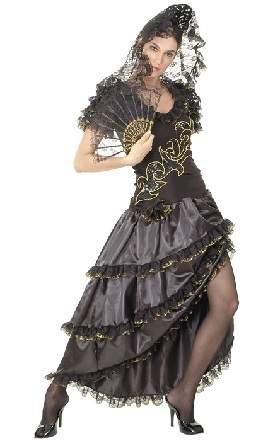 Spanyol nő jelmez - fekete ruhás