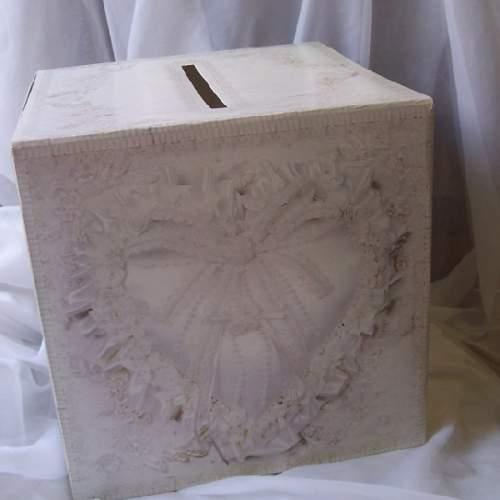 nászajándék gyűjtő doboz - fehér csipkés