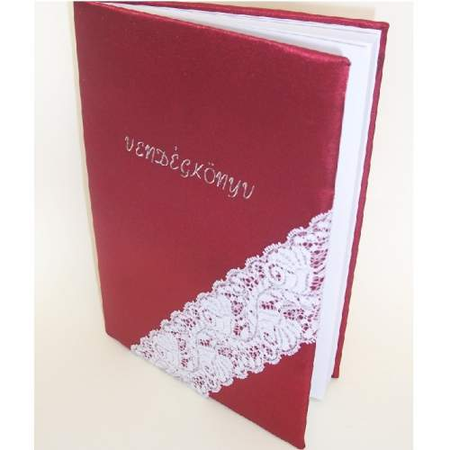 vendégkönyv - bordó selyem csipkével