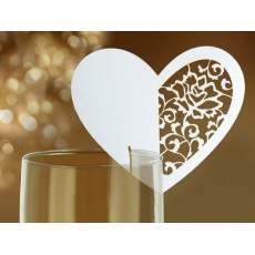 ültetőkártya - csipkézett szív (10 db)