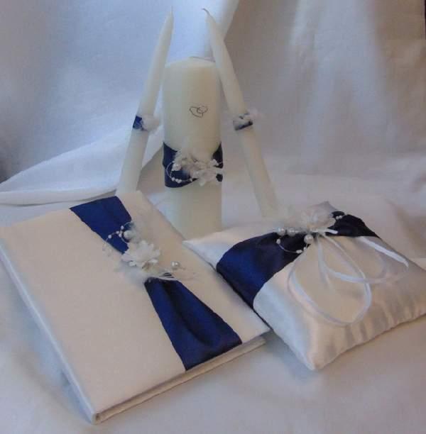esküvői gyűrűpárna szett - 5 részes, tengerészkék díszítéssel
