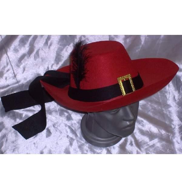 Muskétás / testőr kalap - piros