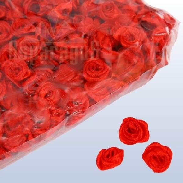 szatén rózsafej - piros 1,2 cm
