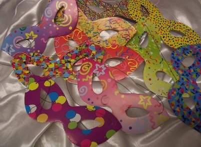 színes papírszemüveg álarc (6 db)
