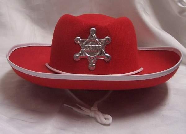 sheriff kalap - piros, gyerek méret
