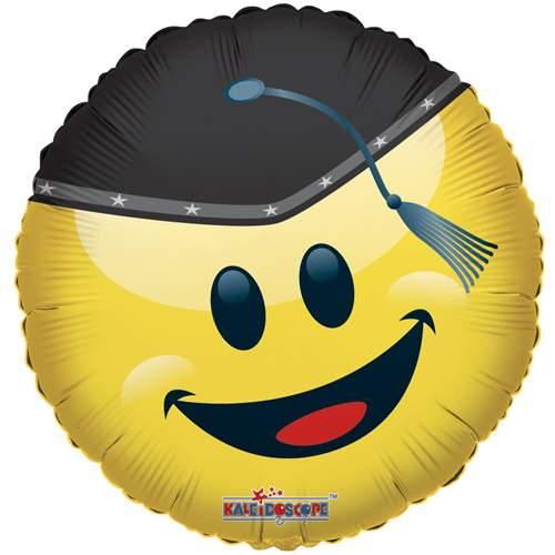 ballagókalapos Smiley fólia lufi