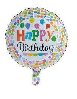Happy Birthday fólia lufi - pöttyös