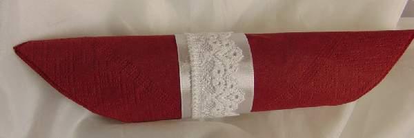 szalvétagyűrű-  fehér szatén csipkével, (10db/csomag)