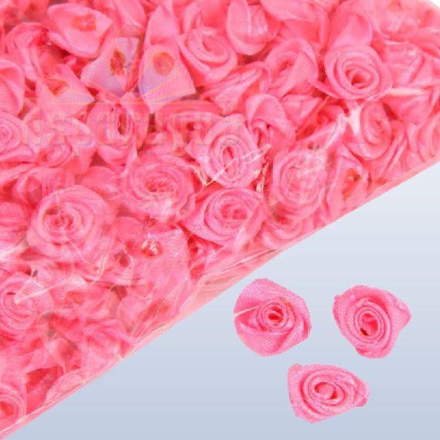 szatén rózsafej - pinkrózsaszín 1,2 cm