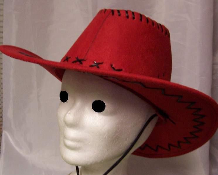 cowboy / western kalap, piros - gyerek méret