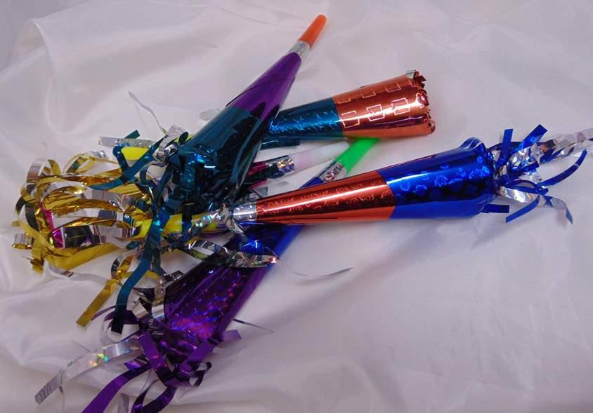színes, hologramos trombita (5 db)