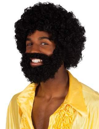 afro paróka, szakáll és bajusz - (86311-B)