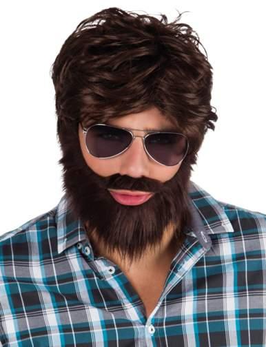 barna férfi paróka, szakáll és bajusz