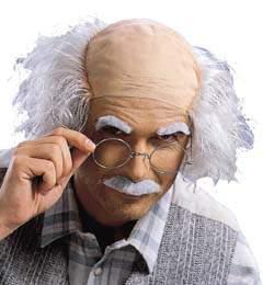Einstein, félkopasz, fehér paróka