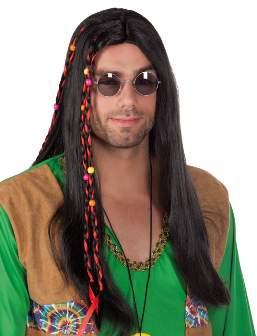 hippie paróka - hosszú fekete