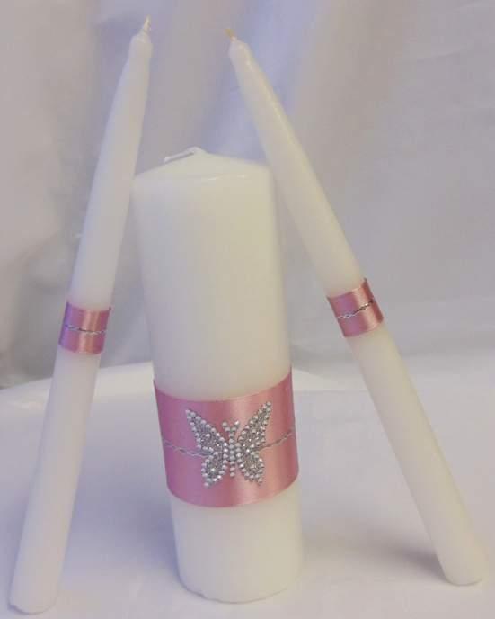 esküvői gyertyaszett - strassz pillangó díszítéssel