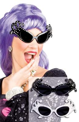 Fesztivál / party szemüveg - strasszos, fekete vagy fehér színben