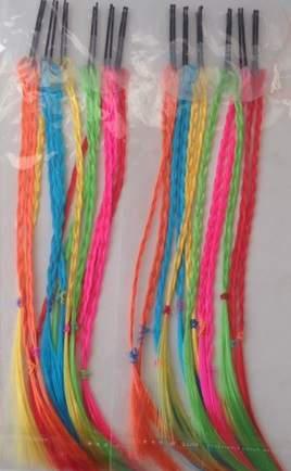 hajdísz - csatos, színes fonott hajtincs fesztiválkellék