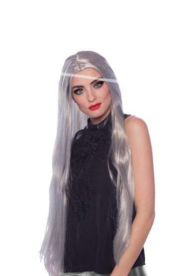hosszú, ezüstfehér paróka