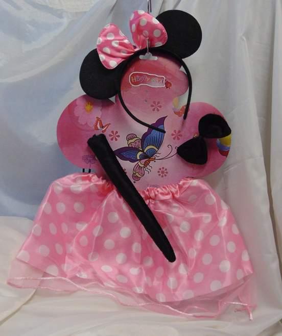 Minnie egér - 4 részes, rózsaszín pöttyös szett
