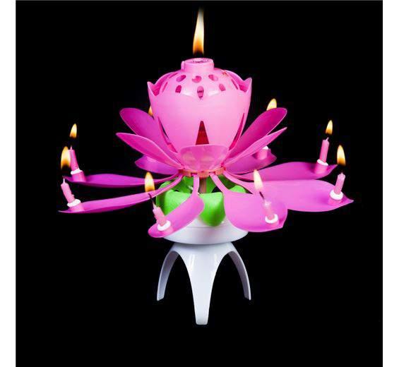 zenélő, forgó virág gyertya (rózsaszín vagy piros  színben)