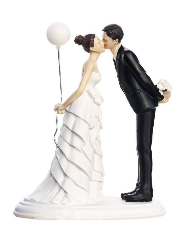 Esküvői nászpár tortadísz lufis, 16 cm - TG9222