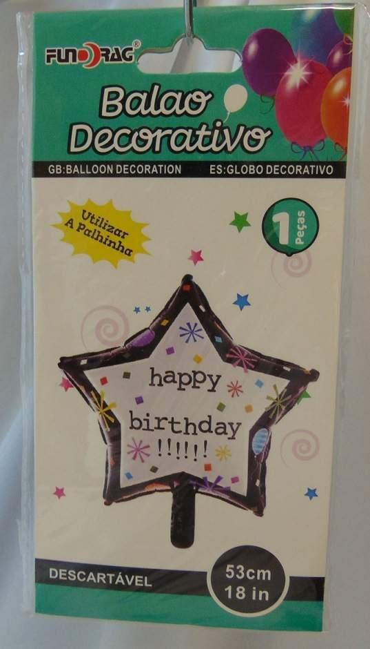 Happy Birthday csillag fólia lufi (219515)-53 cm