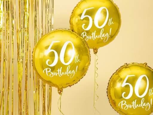 50. születésnapi fólia lufi, arany (45 cm)