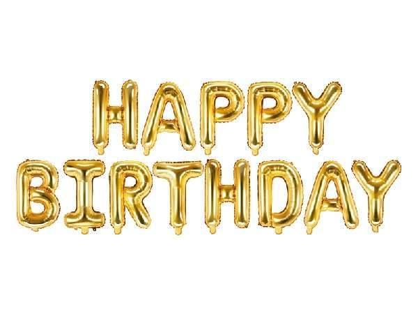 Happy Birthday fólia lufi felirat, 340x35cm, arany