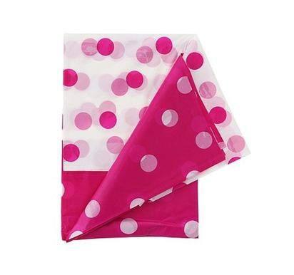 műanyag asztalterítő 132*182 cm, ,pink pöttyös