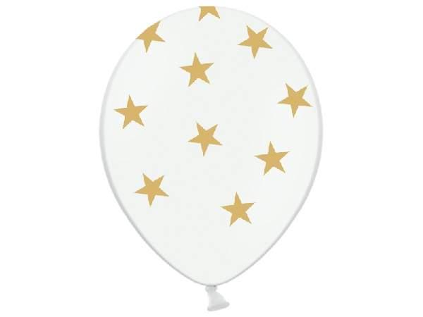 csillagmintás lufi fehér alapon arany csillagokkal (10 db)