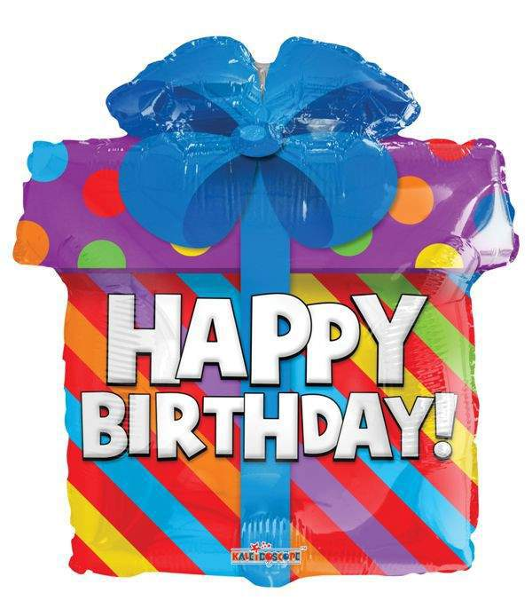 Happy Birthday fólia lufi, ajándék doboz (45 cm)