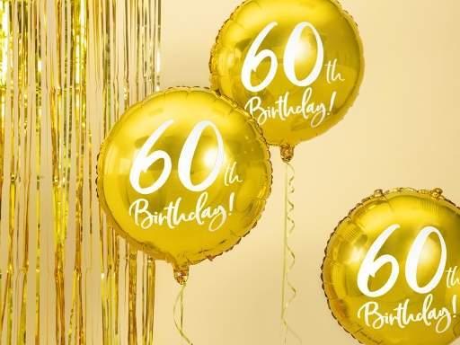 60. születésnapi fólia lufi, arany (45 cm)