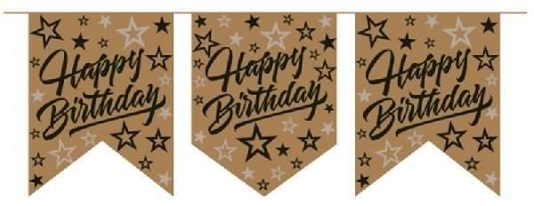 Happy Birthday felirat_arany_csillagos (20 cm x 2,5 m)