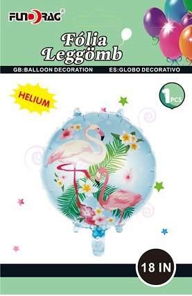 fólia lufi flamingó mintával (45 cm)
