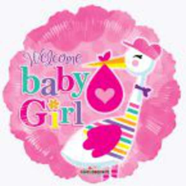 Baba születéses fólia lufi, kislány (gólyás)