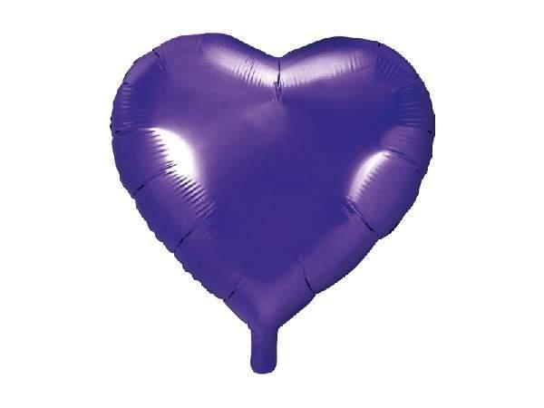 Szív alakú,  s.lila fólia lufi (45 cm)