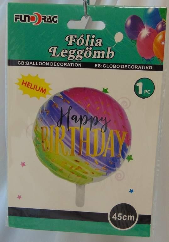 Happy Birthday ! szivárványos fólia lufi (612533)-45 cm
