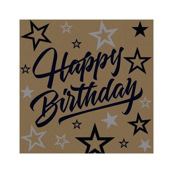 Happy Birthday szalvéta arany-fekete ( 16 db)