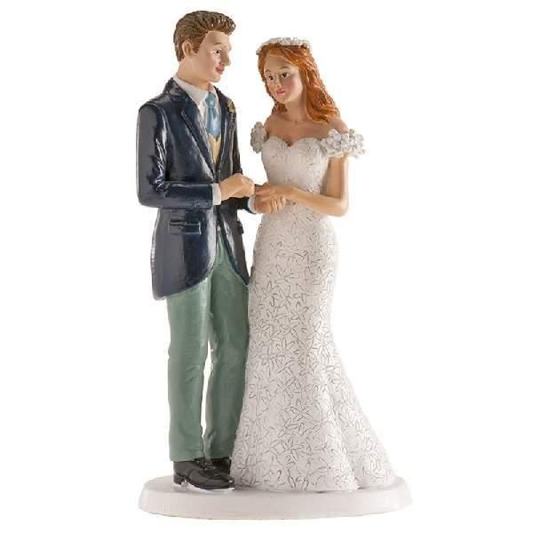 Esküvői nászpár tortadísz, 18 cm - 305094
