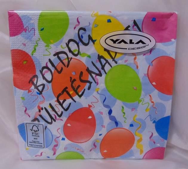 szalvéta Boldog születésnapot !, 3 rétegű (20 db)
