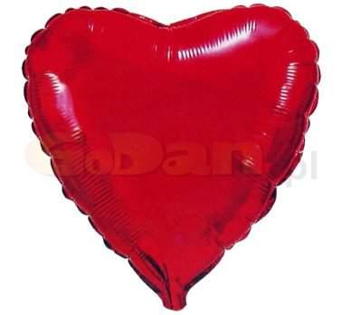 Szív alakú , piros fólia lufi  (45cm)-Valentin napra